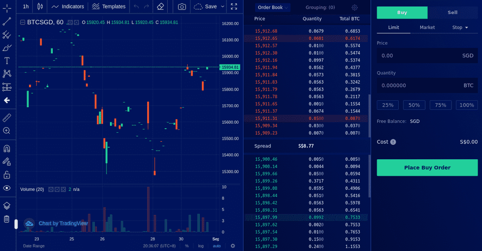 Advanced trading interface on Liquid